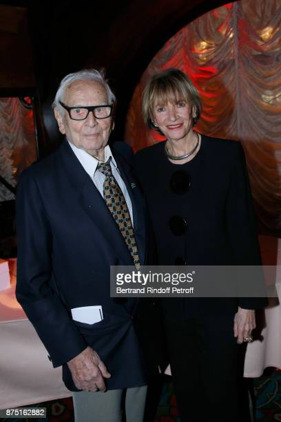 Pierre Cardin and Eve Ruggieri attend Eve Ruggieri signs her Book 'Dictionnaire amoureux de Mozart' at Maxim's on November 16 2017 in Paris France