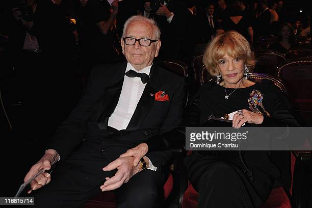 Pierre Cardin and Jeanne Moreau attend the show at the Cesar Film Awards held at the Chatelet Theater on February 22, 2008 in Paris, France.