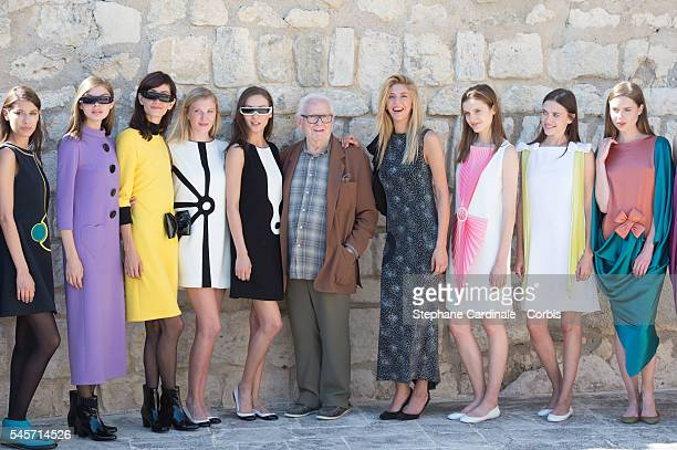 Pierre Cardin and models pose during the Pierre Cardin 2016 Collection Presentation At Chateau Du Marquis de Sade as part of Paris Fashion Week on...