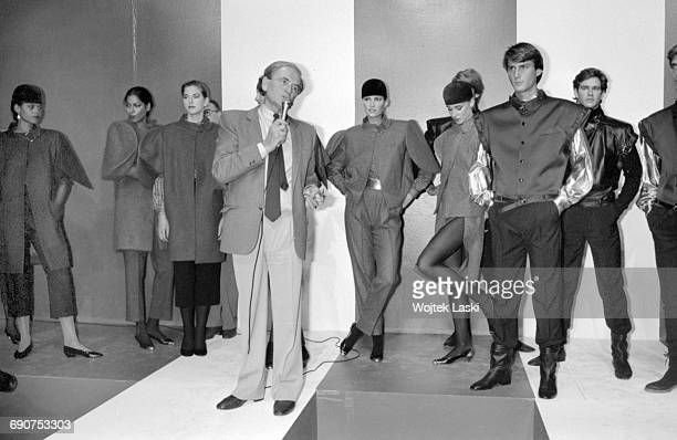 Pierre Cardin fashion show in Paris France on 17th September 1981 Pictured Pierre Cardin and models