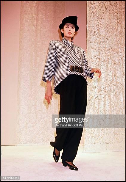 Pierre Cardin Haute Couture fashion show fall winter 1990-1991 collection in Paris.