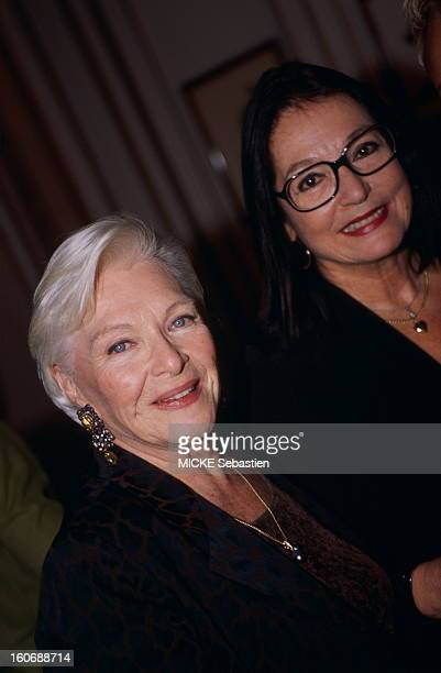 Pierre Cardin offers a cocktail party for her friend Jeanne Moreau Academician of Fine Arts at Maxim's in PARIS Plan Line Renaud smiling face with...
