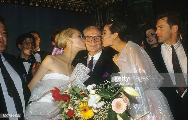 Pierre Cardin's fashion show at the Red Square in Moscow Russia in June 1991 Pictured models kissing Pierre Cardin
