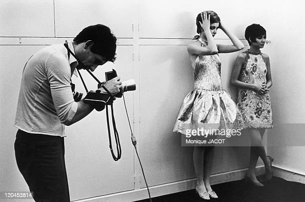 Pierre Cardin's fashion show in Paris France in 1967 Shooting of Pierre Cardin's fashion for Elle magazine
