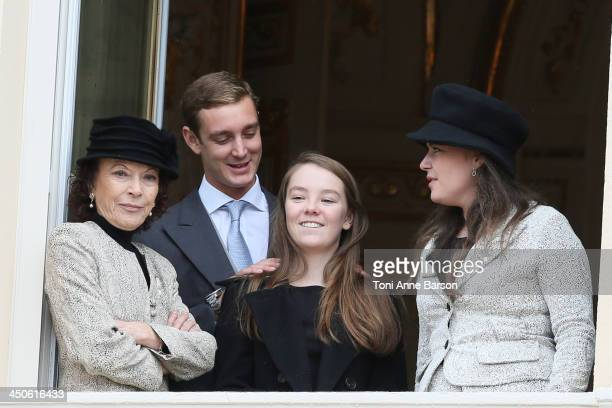 Pierre Casiraghi and Alexandra of Hanover attend the National Day Parade as part of Monaco National Day Celebrations at Monaco Palace on November 19...