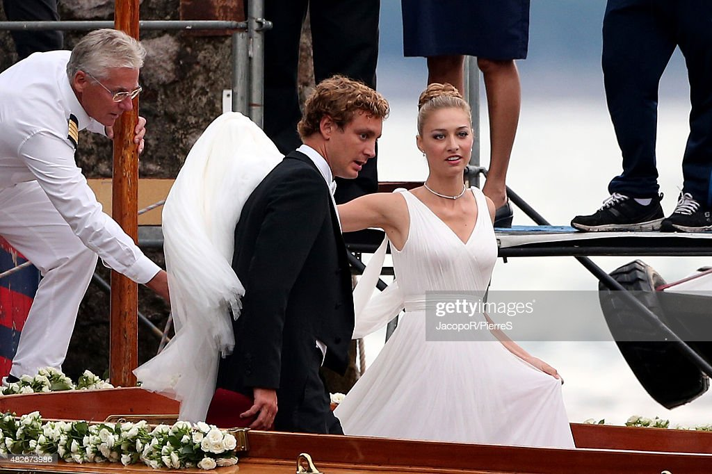 Pierre Casiraghi And Beatrice Boromeo Leave Isola Madre To Attend Their Wedding Party On August 1
