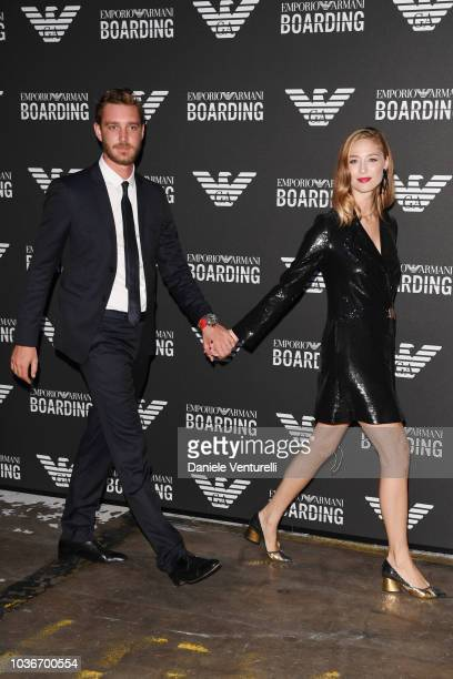Pierre Casiraghi and Beatrice Borromeo attend the Emporio Armani show during Milan Fashion Week Spring/Summer 2019 on September 20 2018 in Milan Italy