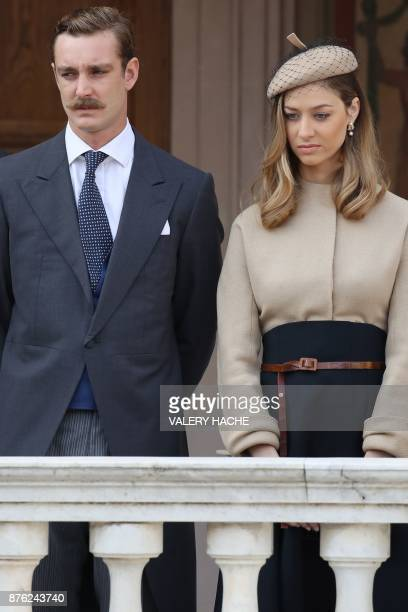 Pierre Casiraghi and Beatrice Borromeo attend the Monaco National Day celebrations at the Monaco Palace on November 19 2017 / AFP PHOTO / POOL /...