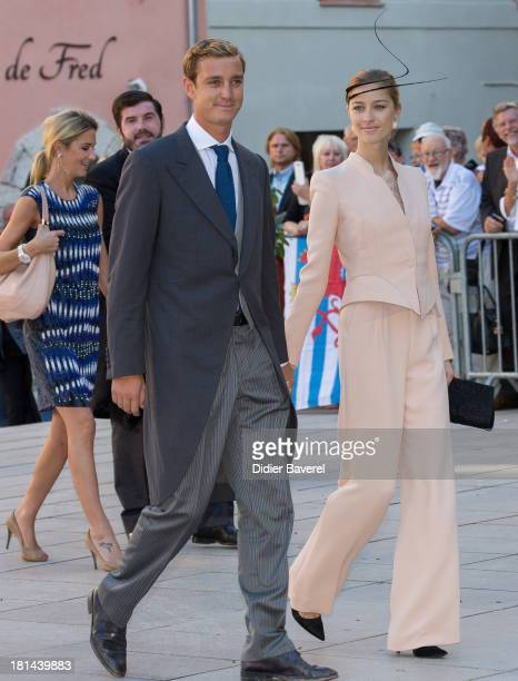 Pierre Casiraghi and Beatrice Borromeo attend the Religious Wedding of Prince Felix of Luxembourg and Claire Lademacher at Basilique Sainte...