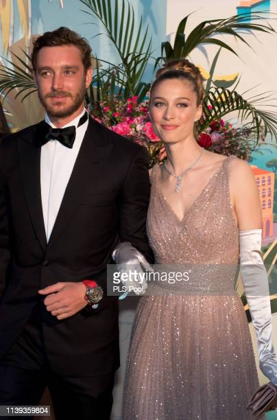 Pierre Casiraghi and Beatrice Borromeo attend the Rose Ball 2019 to benefit the Princess Grace Foundation on March 30 2019 in Monaco Monaco