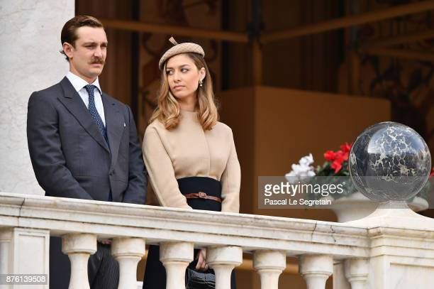 Pierre Casiraghi and Beatrice Casiraghi attend the Monaco National Day Celebrations in the Monaco Palace Courtyard on November 19 2017 in Monaco...