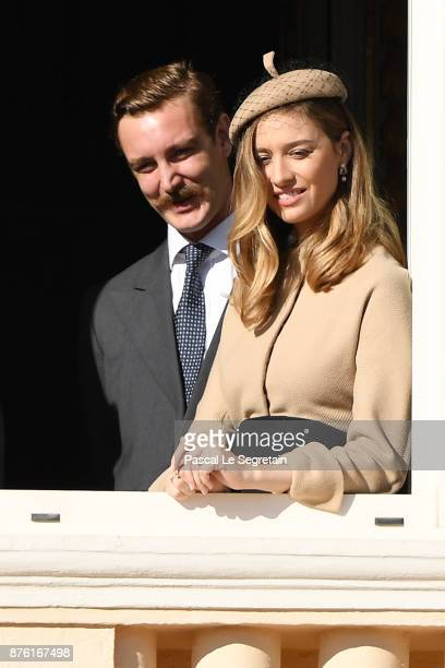 Pierre Casiraghi and Beatrice Casiraghi greet the crowd from the palace's balcony during the Monaco National Day Celebrations on November 19 2017 in...