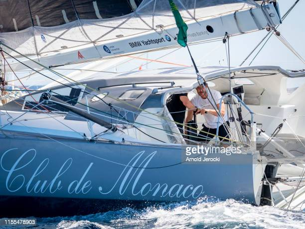 Pierre Casiraghi and Boris Herrmann on the Malizia at the start of the Rolex Giraglia Offshore race between Saint Tropez and Monaco on June 12, 2019...