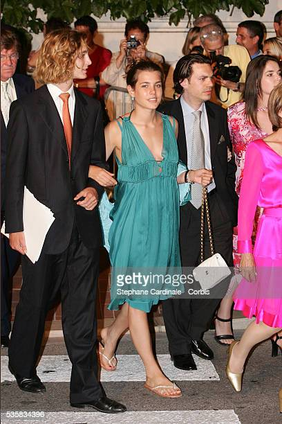 Pierre Casiraghi and Charlotte Casiraghi arrive for Prince Albert II's key ceremony following his coronation mass held in the morning