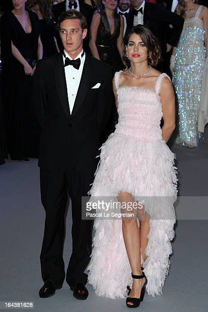Pierre Casiraghi and Charlotte Casiraghi attend the 'Bal De La Rose Du Rocher' in aid of the Fondation Princess Grace on the 150th Anniversary of the...