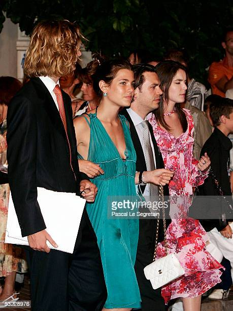 Pierre Casiraghi and Charlotte Casiraghi attend the ball for Monegasques and Monaco residents at Quai Albert Ier port on July 12 2005 in Monte Carlo...