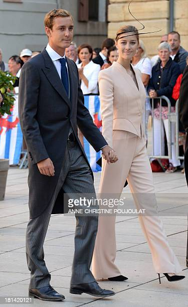 Pierre Casiraghi and girlfriend Beatrice Borromeo arrive at the Wedding Ceremony of Prince Felix of Luxembourg with German student Claire Lademacher...