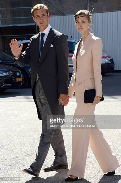 Pierre Casiraghi and girlfriend Beatrice Borromeo leave after the Wedding Ceremony of Prince Felix of Luxembourg with German student Claire...