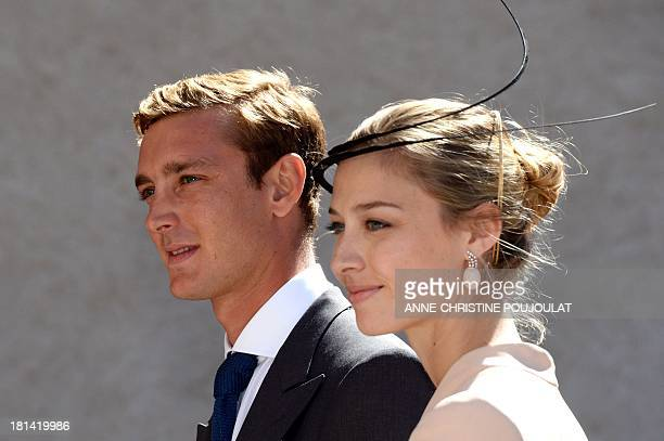 Pierre Casiraghi and girlfriend Beatrice Borromeo leave the church after the Wedding Ceremony of Prince Felix of Luxembourg with German student...