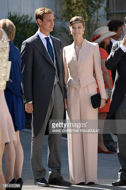 Pierre Casiraghi and girlfriend Beatrice Borromeo leave the church after the wedding ceremony of the Prince of Luxembourg with a German student on...