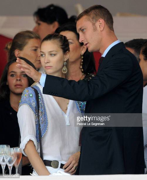 Pierre Casiraghi and girlfriend Countess Beatrice Boromeo attend the International MonteCarlo Jumping on June 25 2010 in MonteCarlo Monaco
