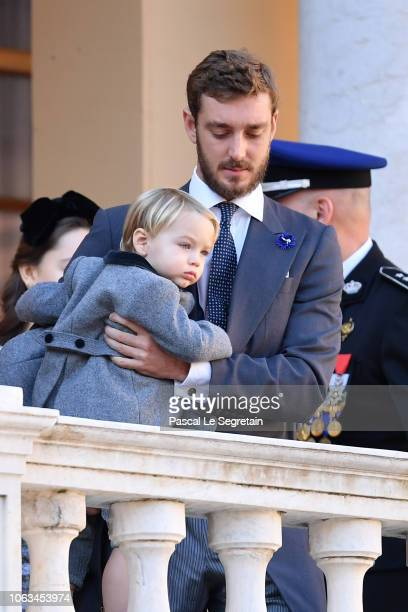 Pierre Casiraghi and his son Stefano Casiraghi attend Monaco National Day Celebrations on November 19 2018 in MonteCarlo Monaco
