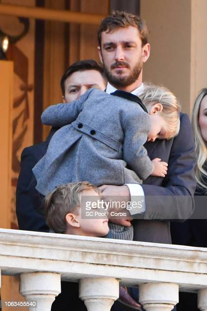 Pierre Casiraghi and his son Stefano Casiraghi attend Monaco National Day Celebrations on November 19, 2018 in Monte-Carlo, Monaco.
