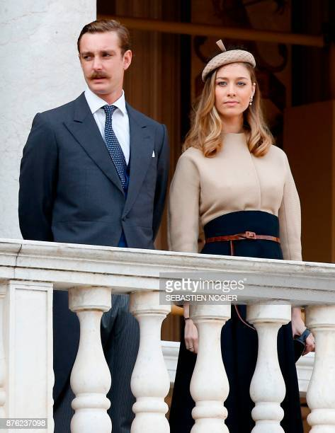 Pierre Casiraghi and his wife Beatrice attend the Monaco National Day celebrations at the Monaco Palace on November 19 2017 / AFP PHOTO / POOL /...