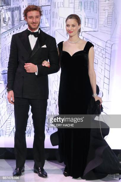 Pierre Casiraghi and his wife Beatrice Casiraghi arrive for the annual Rose Ball at the MonteCarlo Sporting Club in Monaco on March 24 2018 The Rose...