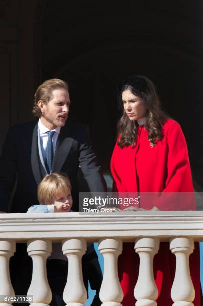 Pierre Casiraghi and Tatiana Casiraghi greet the crowd from the palace's balcony duringon November 19 2017 in Monaco Monaco