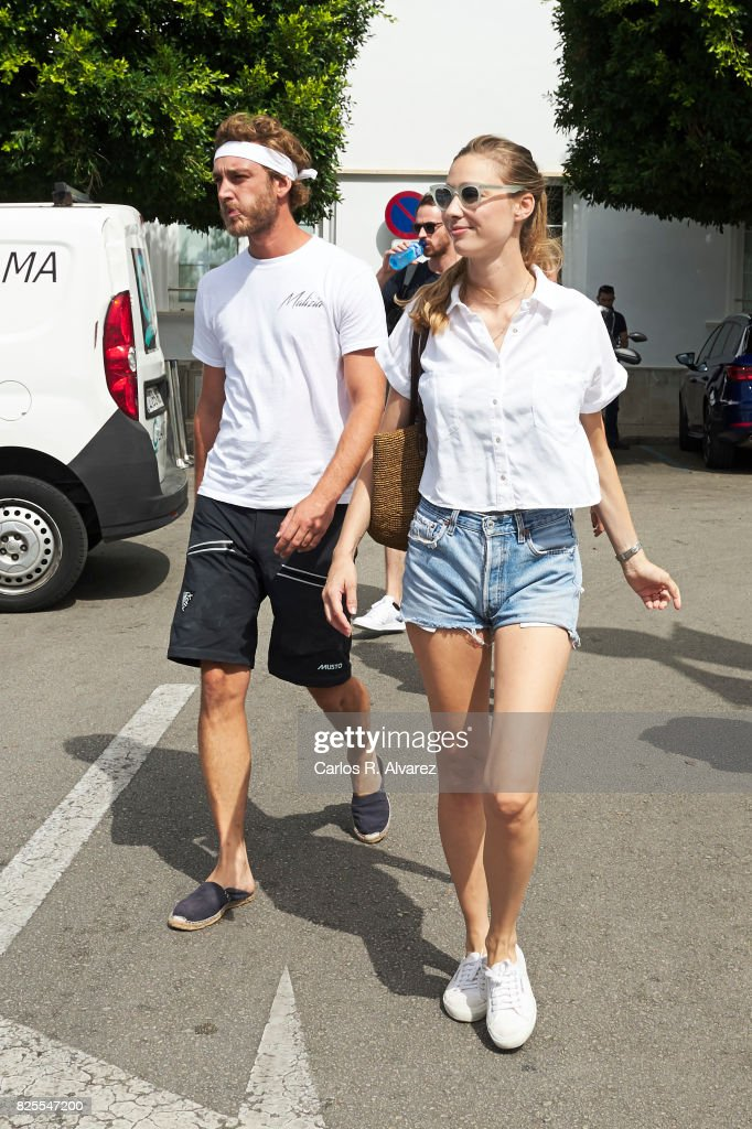 Pierre Casiraghi and wife Beatrice Borromeo are seen during the 36th Copa Del Rey Mafre Sailing Cup on August 2, 2017 in Palma de Mallorca, Spain.