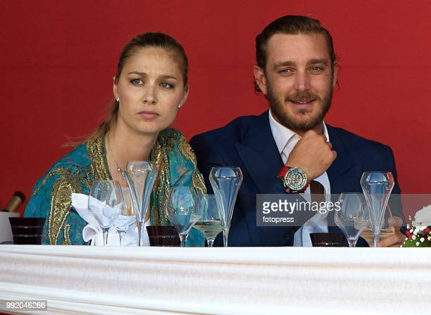 Pierre Casiraghi and wife Beatrice Borromeo attend Global Champions Tour of Monaco at Port de Hercule on June 30 2018 in MonteCarlo Monaco