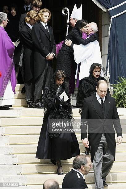 Pierre Casiraghi Andrea Casiraghi Charlotte Casiraghi Princess Caroline Princess Stephanie and Prince Albert leave the Cathedral after the funeral of...