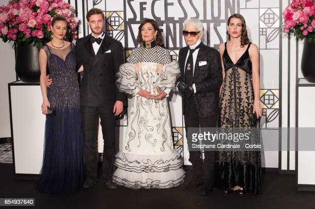 Pierre Casiraghi Beatrice Borromeo Princess Caroline of Hanover Karl Lagerfeld and Charlotte Casiraghi attend the Rose Ball 2017 To Benefit The...
