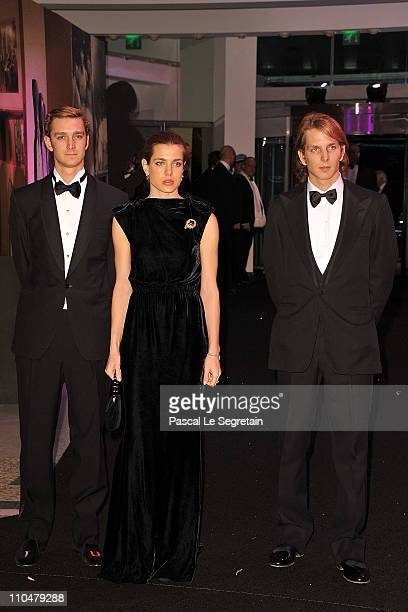Pierre Casiraghi Charlotte Casiraghi and Andrea Casiraghi attend the Monaco Rose Ball 2011 at Sporting Monte Carlo on March 19 2011 in Monte Carlo...