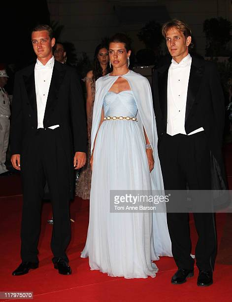 Pierre Casiraghi Charlotte Casiraghi and Prince Andrea Casiraghi attend the official dinner and firework celebrations at the Opera Terraces after the...