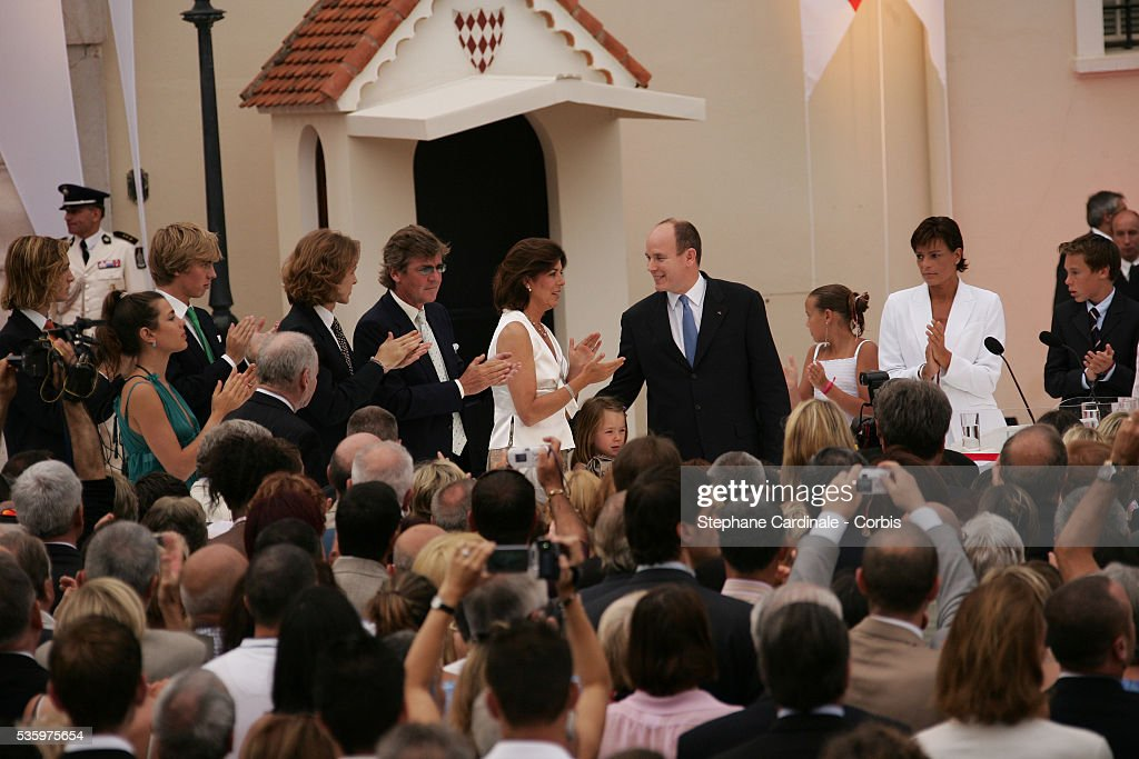 Pierre Casiraghi, Charlotte Casiraghi, Andrea Casiraghi, Prince Ernst August of Hanover, Princess Caroline of Hanover, Princess Stephanie of Monaco and Louis Ducruet attend Prince Albert II's key ceremony following his coronation mass held in the morning.