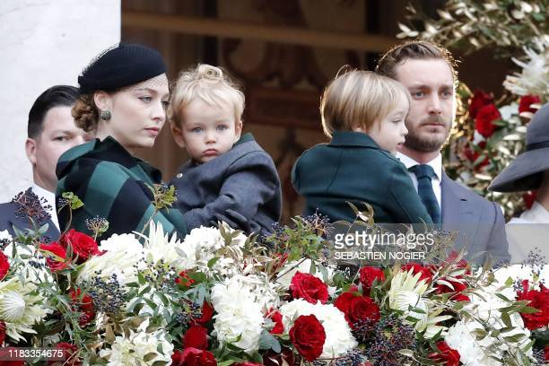 Pierre Casiraghi his wife Beatrice their sons Francesco and Stefano attend the celebrations marking Monaco's National Day at the Monaco Palace in...