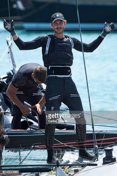 Pierre Casiraghi is seen on board of Malizia the previus day of the 36th Copa Del Rey Mapfre Sailing Cup at the Real Club Nautico de Palma on July...