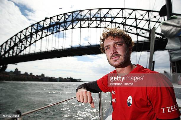 Pierre Casiraghi of 'Maserati' looks on prior to the 2015 Sydney to Hobart on December 26 2015 in Sydney Australia