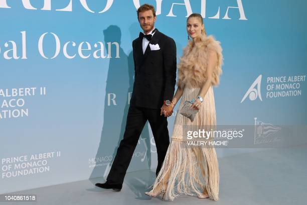 Pierre Casiraghi of Monaco and his wife Beatrice Casiraghi arrive at the 2nd Monte-Carlo Gala for the Global Ocean 2018 held in Monaco on September...