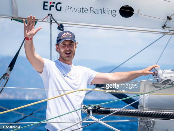 Pierre Casiraghi on the Malizia at the start of the Rolex Giraglia Offshore race between Saint Tropez and Monaco on June 12, 2019 in Saint-Tropez,...