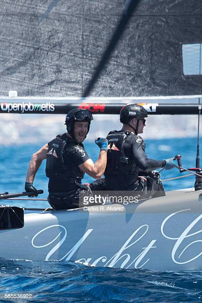 Pierre Casiraghi onboard Malizia during the 35th Copa Del Rey Mafre Sailing Cup on August 3 2016 in Palma de Mallorca Spain