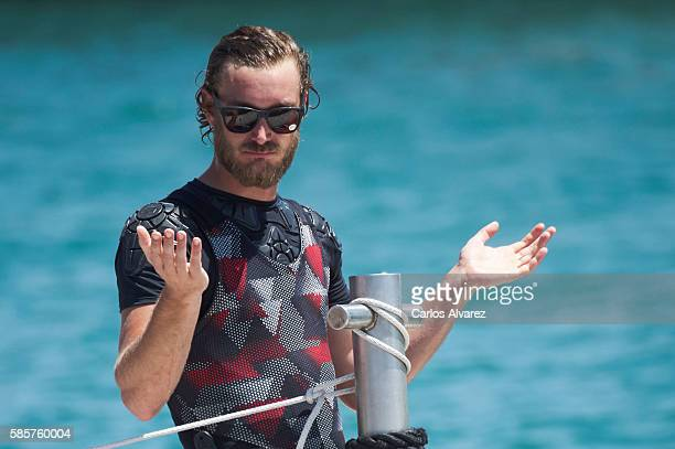 Pierre Casiraghi onboard Malizia during the 35th Copa Del Rey Mafre Sailing Cup on August 4 2016 in Palma de Mallorca Spain