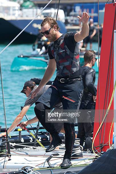 Pierre Casiraghi onboard Malizia during the 35th Copa Del Rey Mafre Sailing Cup on August 4 2016 in Palma de Mallorca Spain