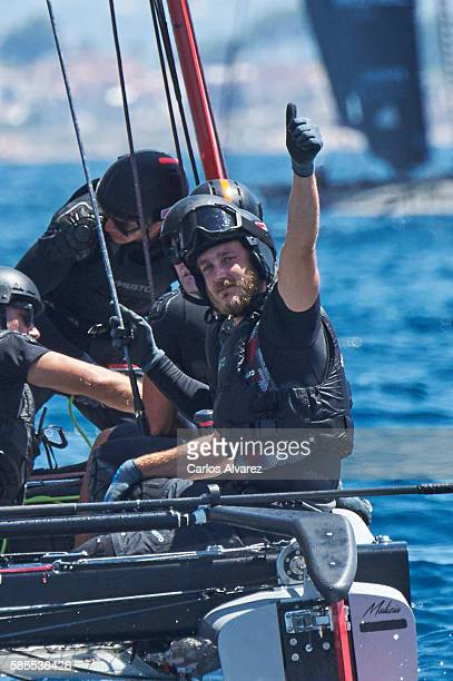 Pierre Casiraghi onboard of Malizia during the 35th Copa Del Rey Mafre Sailing Cup on August 3 2016 in Palma de Mallorca Spain