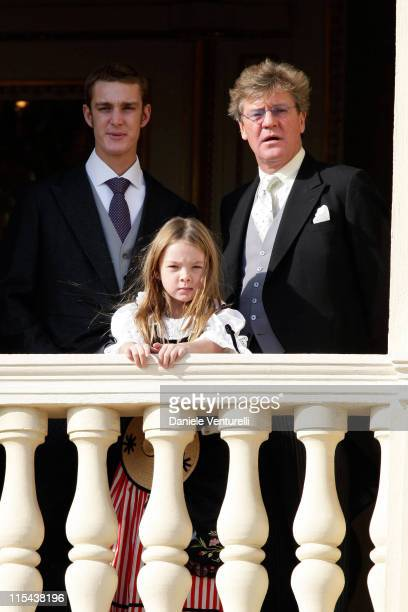 Pierre Casiraghi Princess Alexandra of Hanover and Prince Ernst of Hanover watch from a balcony the Army Parade as part of Monaco's National Day...