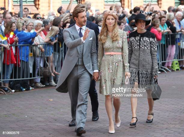 Pierre Casiraghi son of Princess Caroline of Hanover his wife Beatrice and his sister Charlotte Casiraghi arrive for the church wedding of Prince...