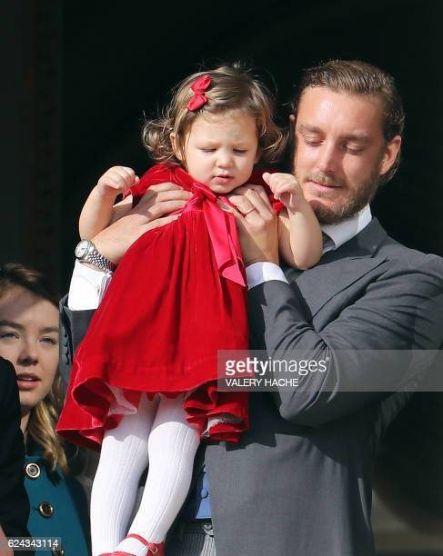 Pierre Casiraghi son of Princess of Hanover poses with his niece India Casiraghi on the balcony of the Monaco Palace during the celebrations marking...