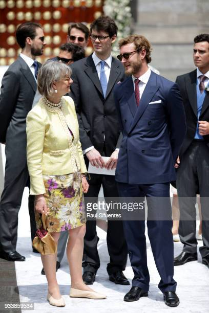 Pierre Casiraghi talks with a guest during the wedding of Prince Christian of Hanover and Alessandra de Osma at Basilica San Pedro on March 16 2018...